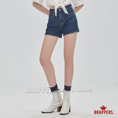 BRAPPERS 女款 Boy friend系列-高腰小開衩全棉短褲-深藍