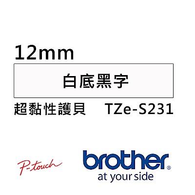 Brother TZe-S231 超黏性護貝標籤帶 ( 12mm 白底黑字 )