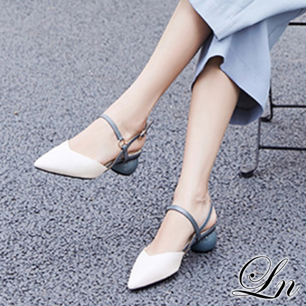 LN 現+預 仙女風氣質尖頭圓粗根包頭涼鞋(涼鞋高跟鞋)