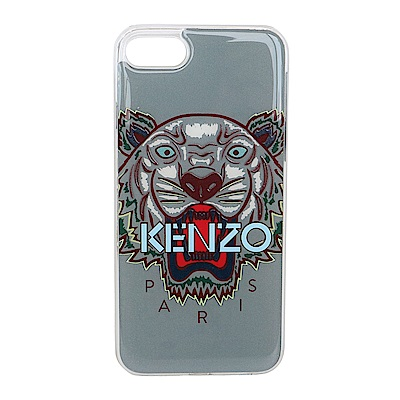 KENZO 3D立體彩繪虎頭淺藍英文字母 I PHONE 8 軟膠手機殼 (灰色)