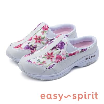 Easy Spirit-SETRAVELTIME373 春日花朵 牛皮拼接布面包覆拖鞋-花白