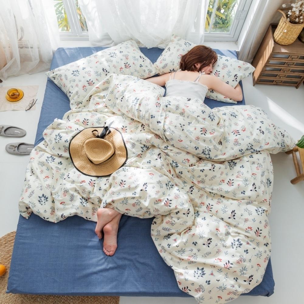 La Lune MIT精梳棉200織紗加大床包枕套3件組 幽香呢喃