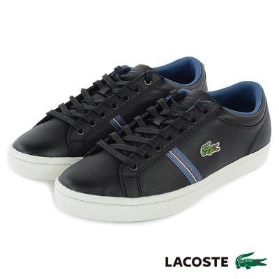 LACOSTE 男用真皮休閒鞋-黑色