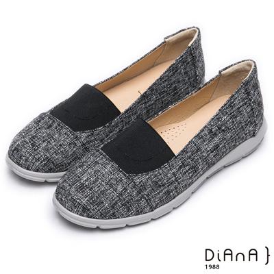 DIANA 輕巧自然—雙色織紋圓頭懶人鞋-黑
