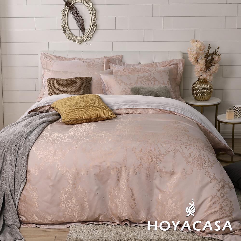 HOYACASA金莎星月 雙人四件式天絲緹花兩用被床包組