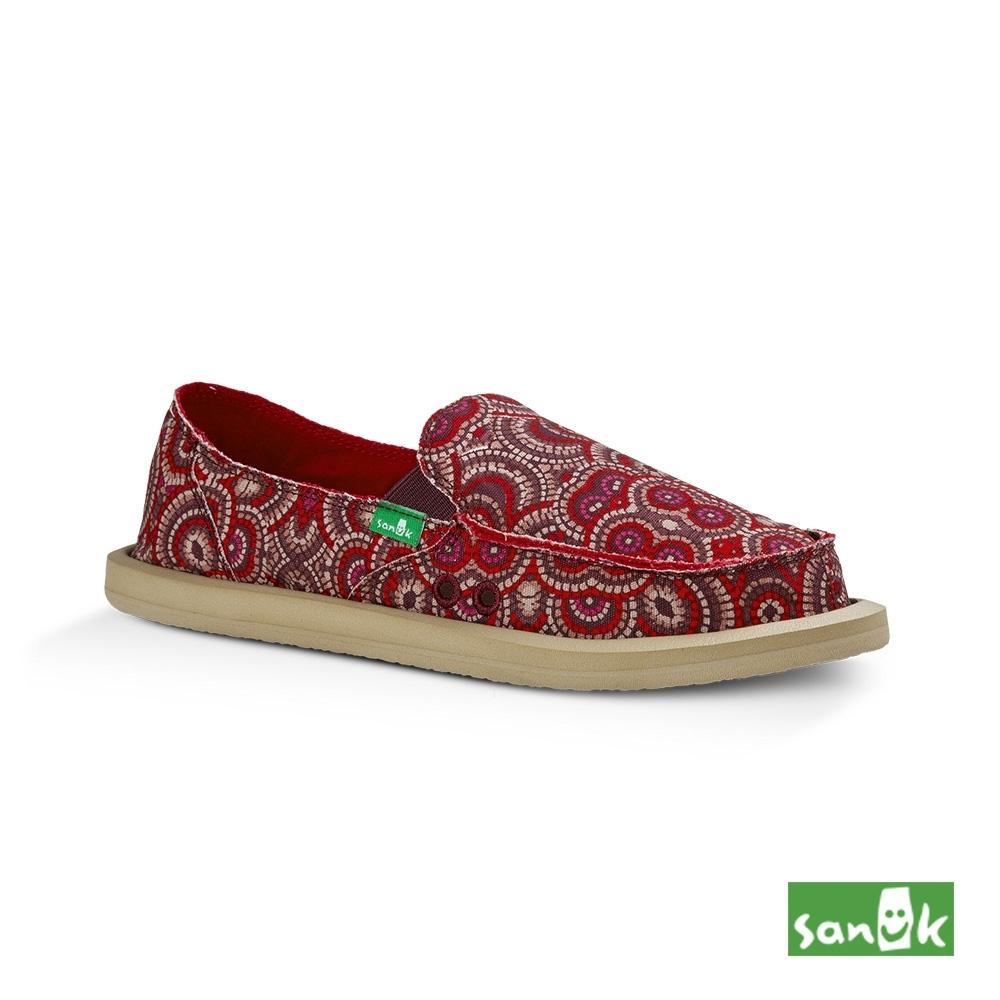 SANUK 女款 US6 孔雀民俗圖騰印花懶人鞋(紅粉色)