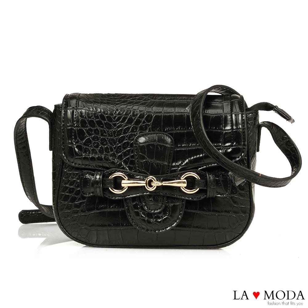 La Moda 時尚創意蛇紋壓紋大容量肩背斜背方包(黑)