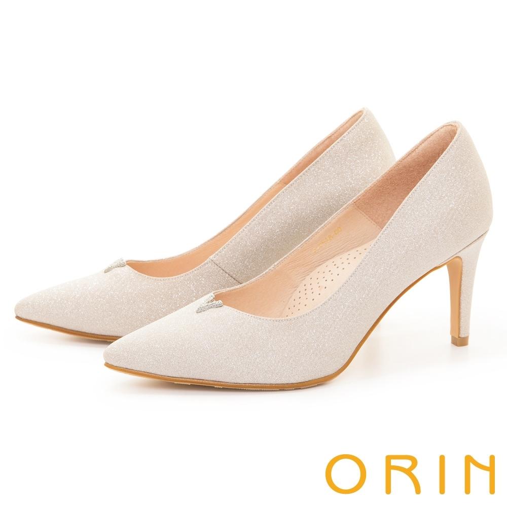 ORIN 華麗V型鑽飾尖頭花嫁 女 高跟鞋 杏色