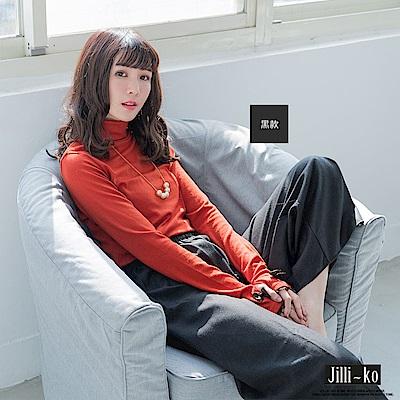 Jilli-ko 冬日毛呢綁帶通勤修飾褲-黑/深藍/淺灰格/深灰格