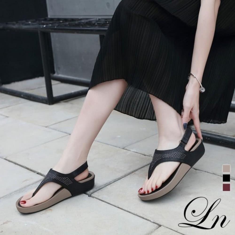 LN 現+預 水鑽波希米亞厚底舒適涼鞋-3色 (黑)