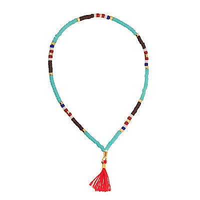 SHASHI Lily Navajo Pink 微顆粒珠珠 流蘇手鍊 桃紅 彈性手圍