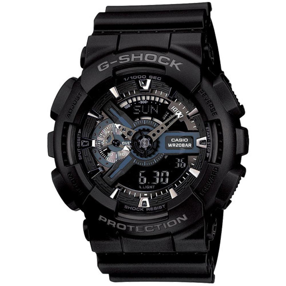 G-SHOCK 超雙重型機械神秘感Man運動錶-黝黑反轉液晶(GA-110-1B)-55mm