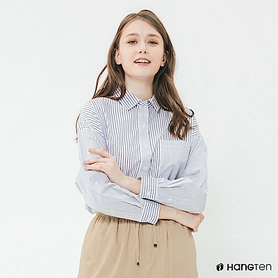 Hang Ten - 女裝 - 單口袋條紋襯衫 - 藍