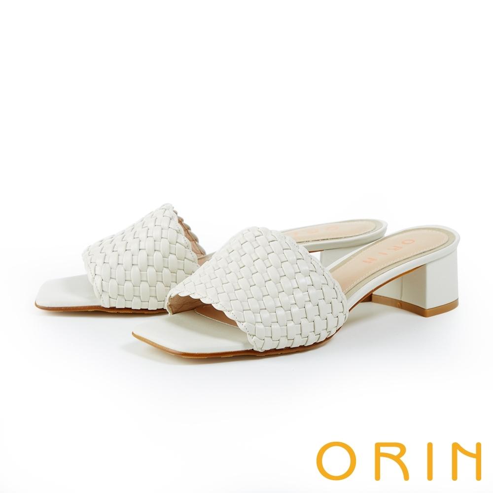 ORIN 一字牛皮編織粗中跟 女 拖鞋 白色