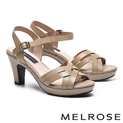 涼鞋 MELROSE 羅馬風格交叉造型牛皮美型高跟涼鞋-米
