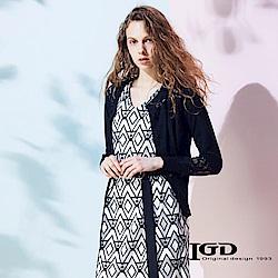 IGD英格麗 棉質蕾絲拼接開襟外套-黑色