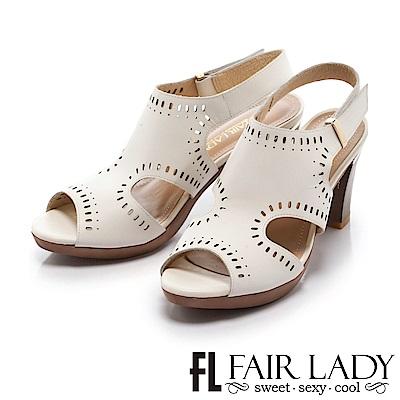 Fair Lady 唯美知性雕花縷空高跟涼鞋 白
