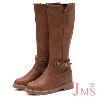 JMS-率性俐落金屬扣飾內增高拉鍊長靴-棕色