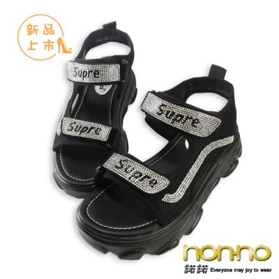 nonno 諾諾韓系輕奢百搭個性厚底涼鞋-黑