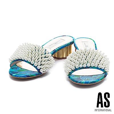拖鞋 AS 夏日美艷珍珠設計一字帶印花布低跟拖鞋-藍