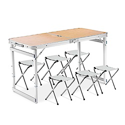 派樂 變型金剛萬用手提箱型桌(有傘孔-1桌6椅)摺疊桌