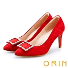 ORIN 時尚名媛 方型鑽飾優雅羊絨高跟鞋-紅色