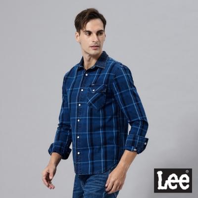 Lee 格紋長袖休閒襯衫牛仔布領拼接 男 藍