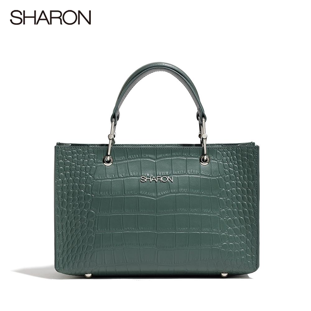 【SHARON 雪恩】頭層牛皮Elizabeth鱷紋方形公事包/斜背包(綠色42057GN)