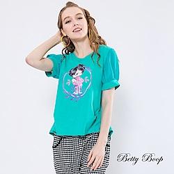 Betty Boop貝蒂 後燕尾拼接雪紡袖柔棉上衣(共兩色)