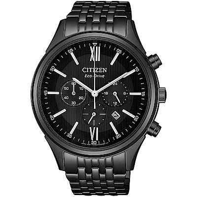 CITIZEN 星辰Chronograph 光動能西裝風格腕錶-黑CA4415-81E