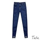 下擺開岔微刷破牛仔褲 TATA-(M~XL)