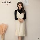 東京著衣 知性優雅兩件式後交叉細帶坑條針織洋裝(共二色)