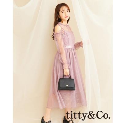 titty&Co.露肩薄紗點點洋裝(2色)