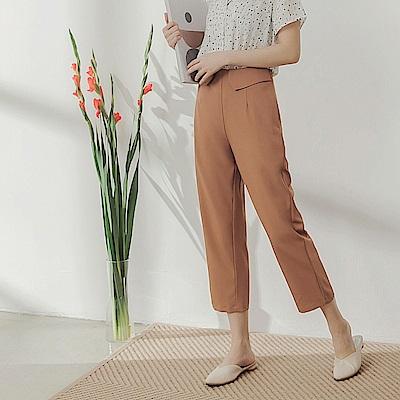 純色不易皺腰部造型雪紡直筒寬褲-OB嚴選