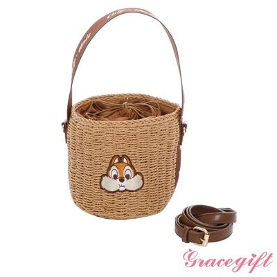 Disney collection by grace gift-迪士尼奇奇蒂蒂藤編手提肩背水桶包 棕