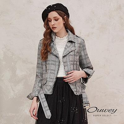 OUWEY歐薇 英倫學院風格紋短版騎士外套(灰) @ Y!購物