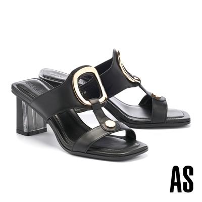 拖鞋 AS 時髦金屬風鏤空圓釦工字全真皮方頭高跟拖鞋-黑