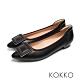 KOKKO經典尖頭方扣柔軟羊皮舒壓粗跟鞋霧黑色 product thumbnail 1