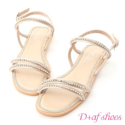 D+AF 閃閃盛夏.細緻雙帶水鑽寶石涼鞋*米