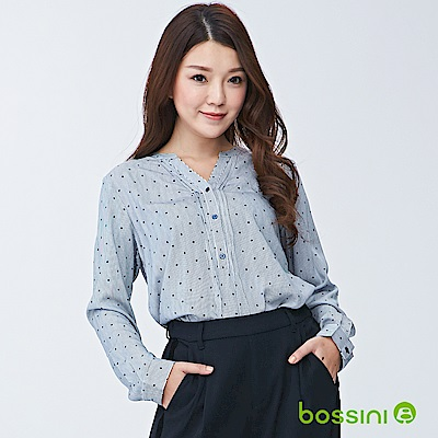 bossini女裝-印花長袖罩衫01海軍藍