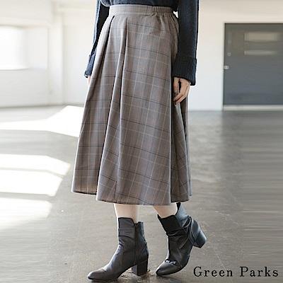 Green Parks 氣質格紋喇叭抓褶裙