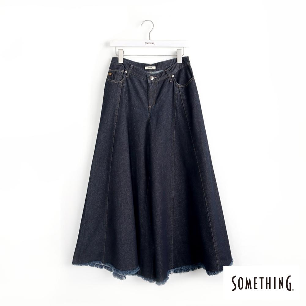 SOMETHING 復古風牛仔剪接寬褲-女-原藍色