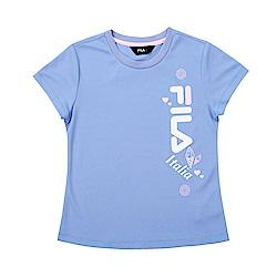 FILA KIDS 童吸濕排汗短袖上衣-藍紫 5TET-4914-VT