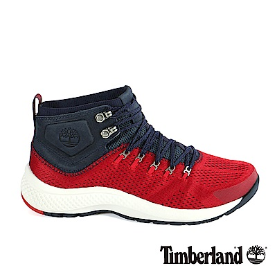 Timberland 男款FlyRoam Trail紅色中筒布面靴