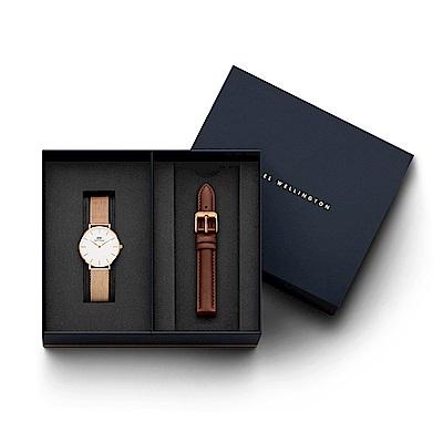 DW手錶 官方旗艦店 32mm米蘭錶+深棕真皮錶帶(編號01)