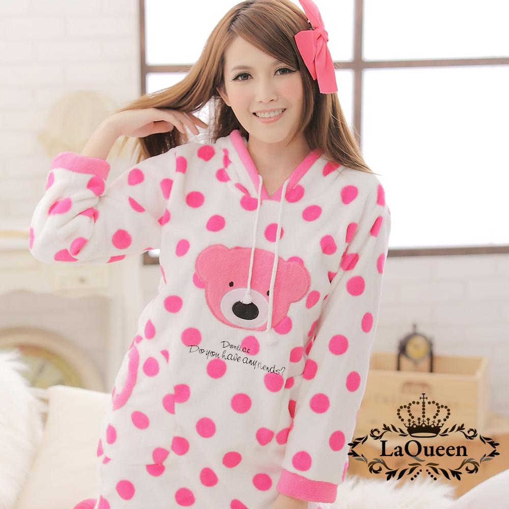 睡衣 可愛粉色點點小熊連身睡裙-粉 La Queen