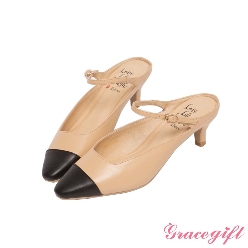Grace gift X Kerina-聯名後空繫帶中跟穆勒鞋 深杏