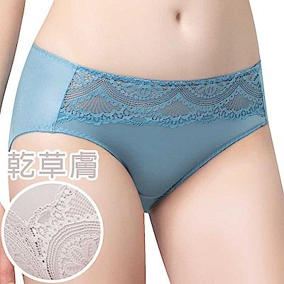 思薇爾 花縷系列M-XXL蕾絲中腰三角內褲(乾草膚)