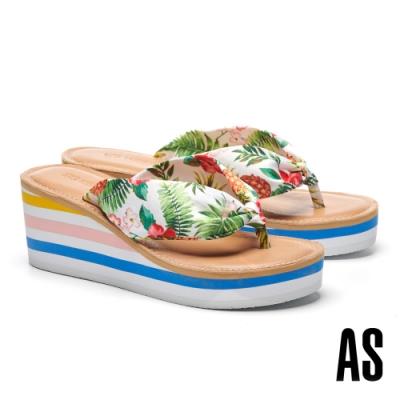 拖鞋 AS 熱帶風情花布造型楔型夾腳高跟拖鞋-白