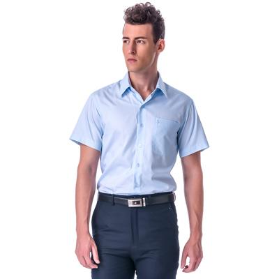 金‧安德森 藍色寬暗紋窄版短袖襯衫fast